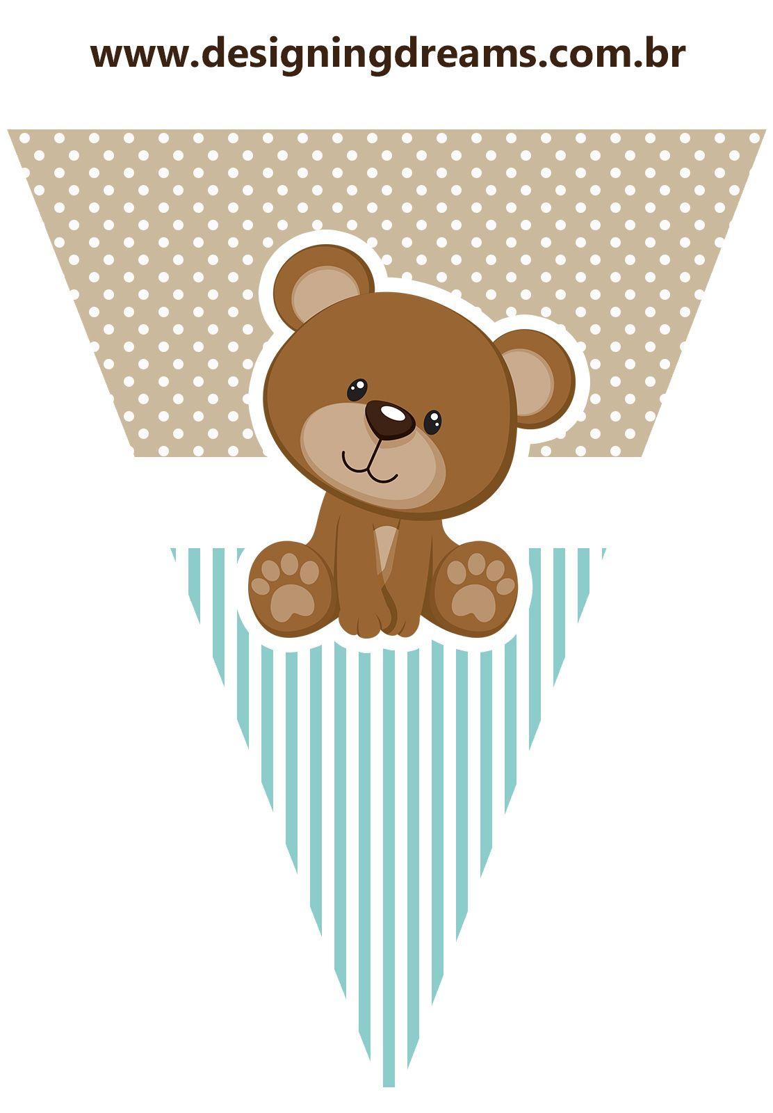 Osito para Fiesta de Niño: Mini Kit para Imprimir Gratis. | banderín ...