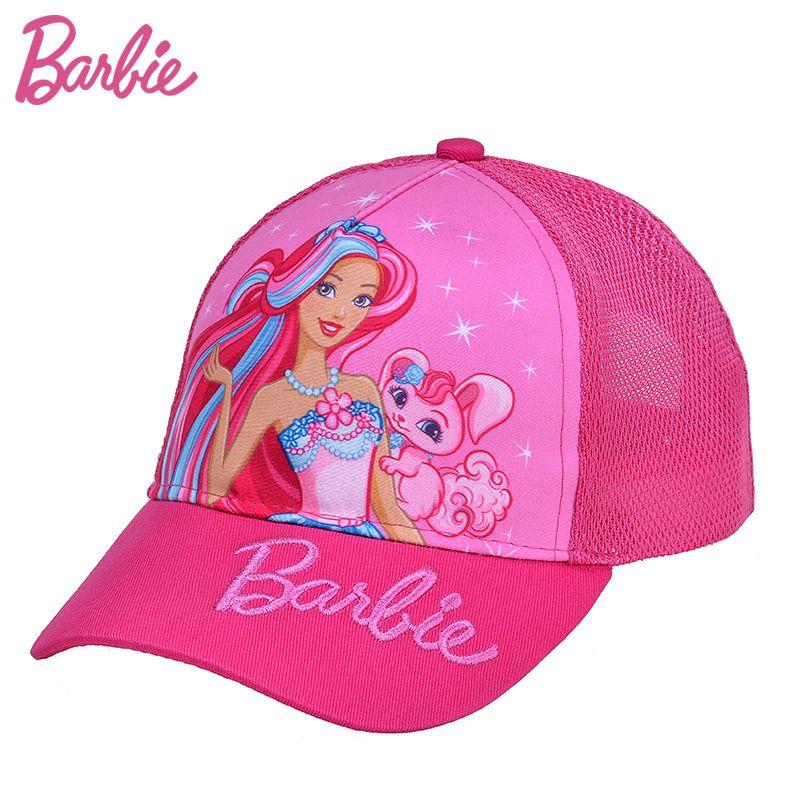 4e35f5a6666 Barbie Mesh Baseball Caps Kids Flat Hat Girls Breathable Hip Hop Snap Back  Hat Children Cartoon