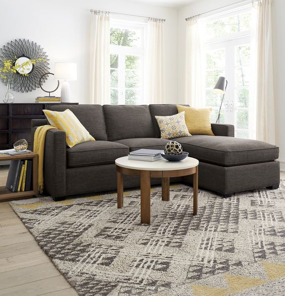Davis 3Seat Lounger Grey Sectional Round Coffee Tables and