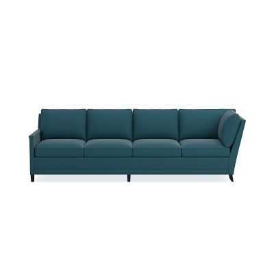 Addison Sectional Left 4 Cushion Cornering Sofa No Nailhead Down Cushion Signature Velvet Cyan Ebony Leg Ebony Legs Outdoor Sofa Sofa