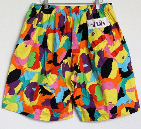 f109442375 Original Jams Surf Line Hawaii - Men's Shorts - Neon Tie Dye in Teal /  Yellow / Orange / Red / Black / Green / Pink - 1980s