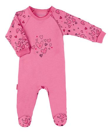 Look what I found on #zulily! Pink I Heart You Side-Zip Footie - Preemie & Infant #zulilyfinds