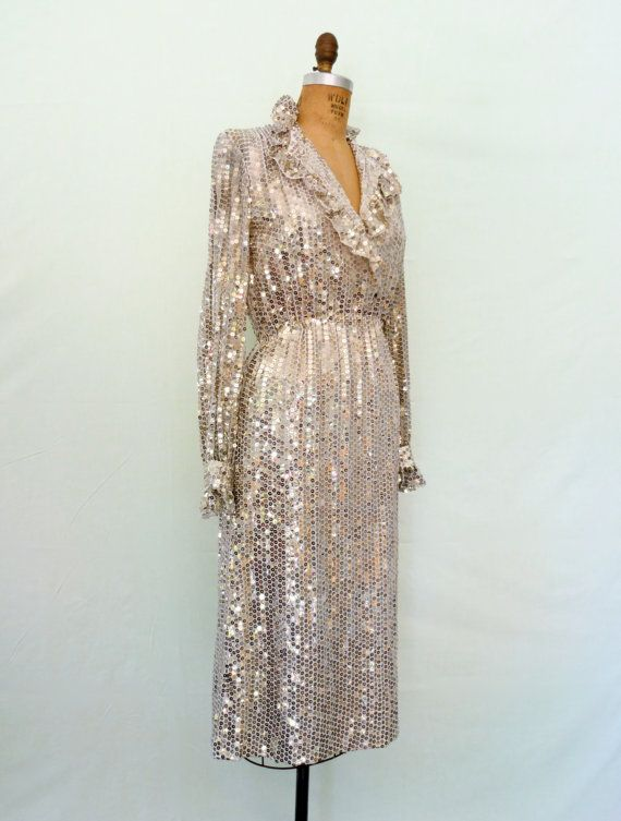 1970s Silver Sequin Disco Dress Vintage 70s Glam Ruffle Dress ...