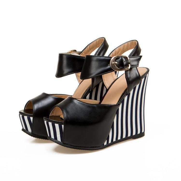 02de0d950d62 Business Stripes Vertical Wedges. Business Stripes Vertical Wedges Womens  Summer Shoes