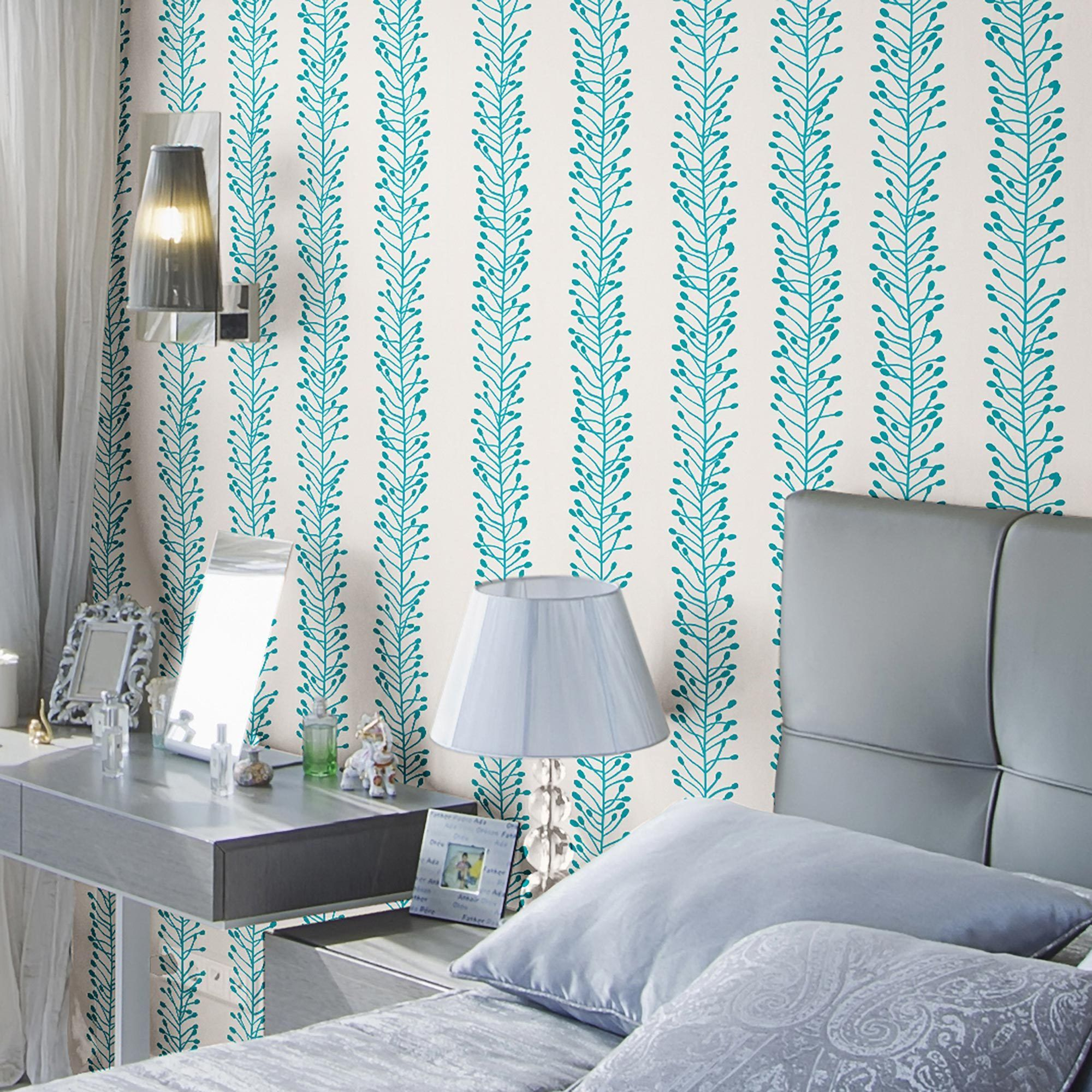 Blue Floral Basic Fabric Removable Wallpaper 0775 Chic