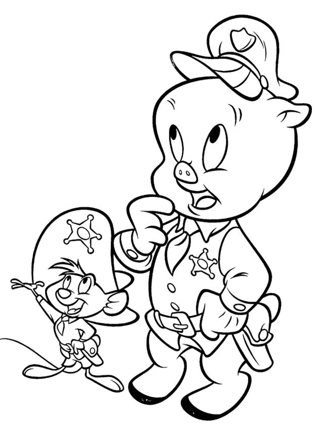 Porky Pig Is The Regional Police Coloring Pages Looney Tunes Disney Coloring Pages Cartoon Coloring Pages Coloring Books