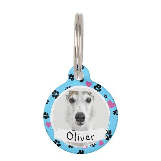 Pet Dog Custom Photo Name Paw Prints On Blue Pet Id Tag Zazzle Com Pet Id Tags Pet Id Custom Pet Tags