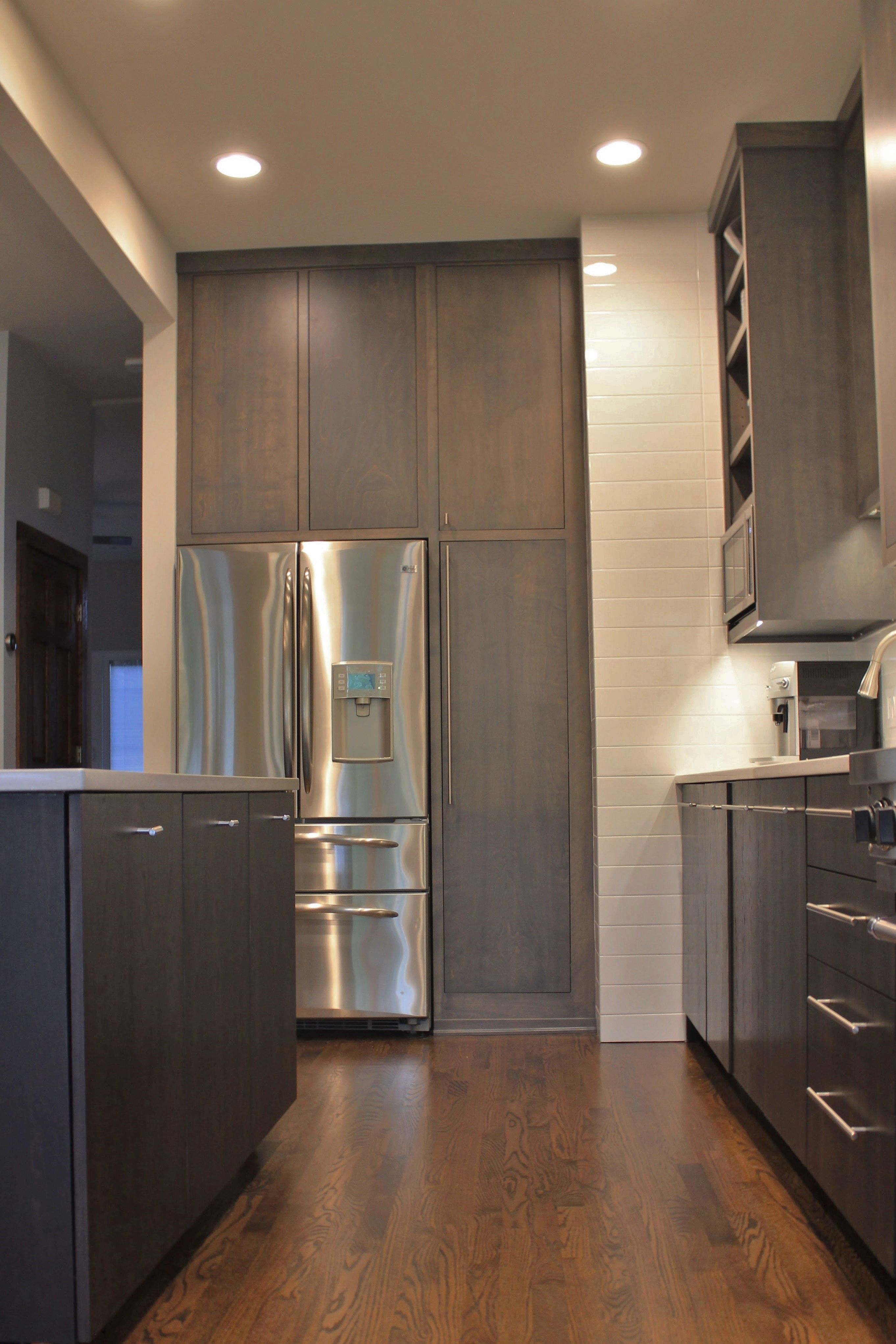 Flat Slab Frameless Soft Maple Stained Gray Custom Kitchen Remodel Cabinet Door Styles Cabinet Doors