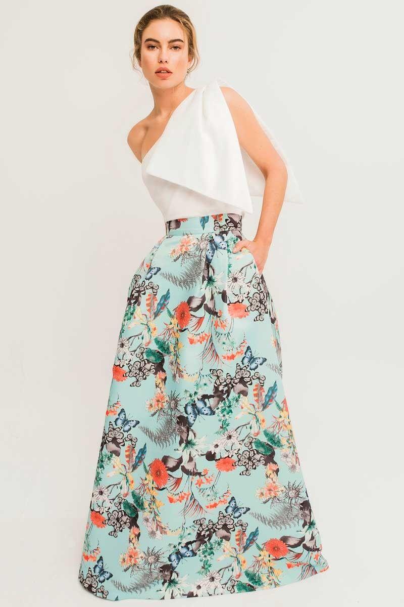 01626057c Maxi falda larga estampada de mariposas y flores en tejido otoman