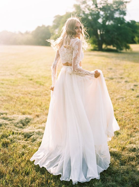 Bridal Separate With A Long Sleeve Lace Bodice And A Flowy Tulle