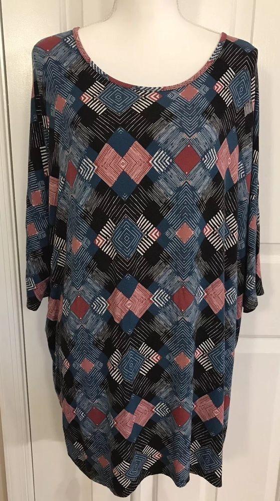 2767a2cd7b9 Lularoe Irma Shirt Size 2XL Geometric Blue Black White Plus High Low Hem  LLR Top   eBay
