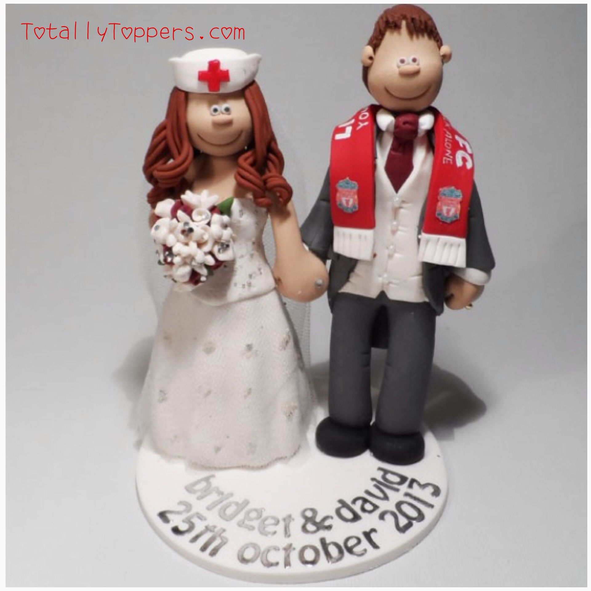 A Nurse Bride And Liverpool Football Club Groom Wedding Cake Topper Totallytoppers