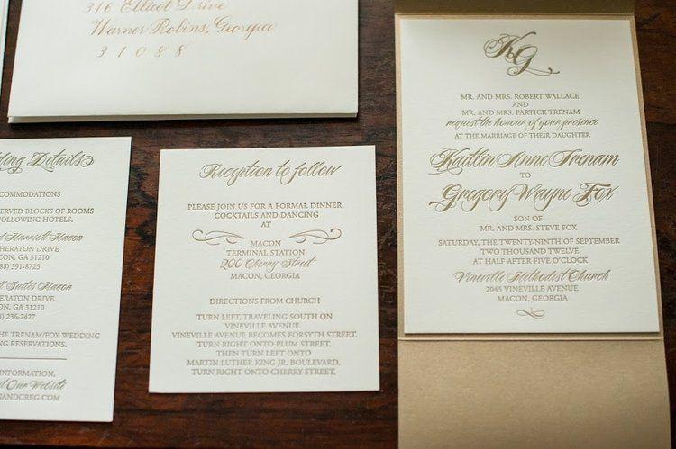 Gold And Ivory Letterpress Wedding Invitations Wedding