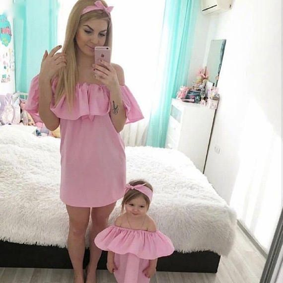 7079d1072802a Mommy and Me matching summer vacation cute off shoulder girls dresses with  headbands