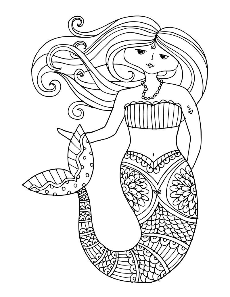 KPM Doodles Coloring page Mermaid by kpmdoodles on Etsy | My art ...