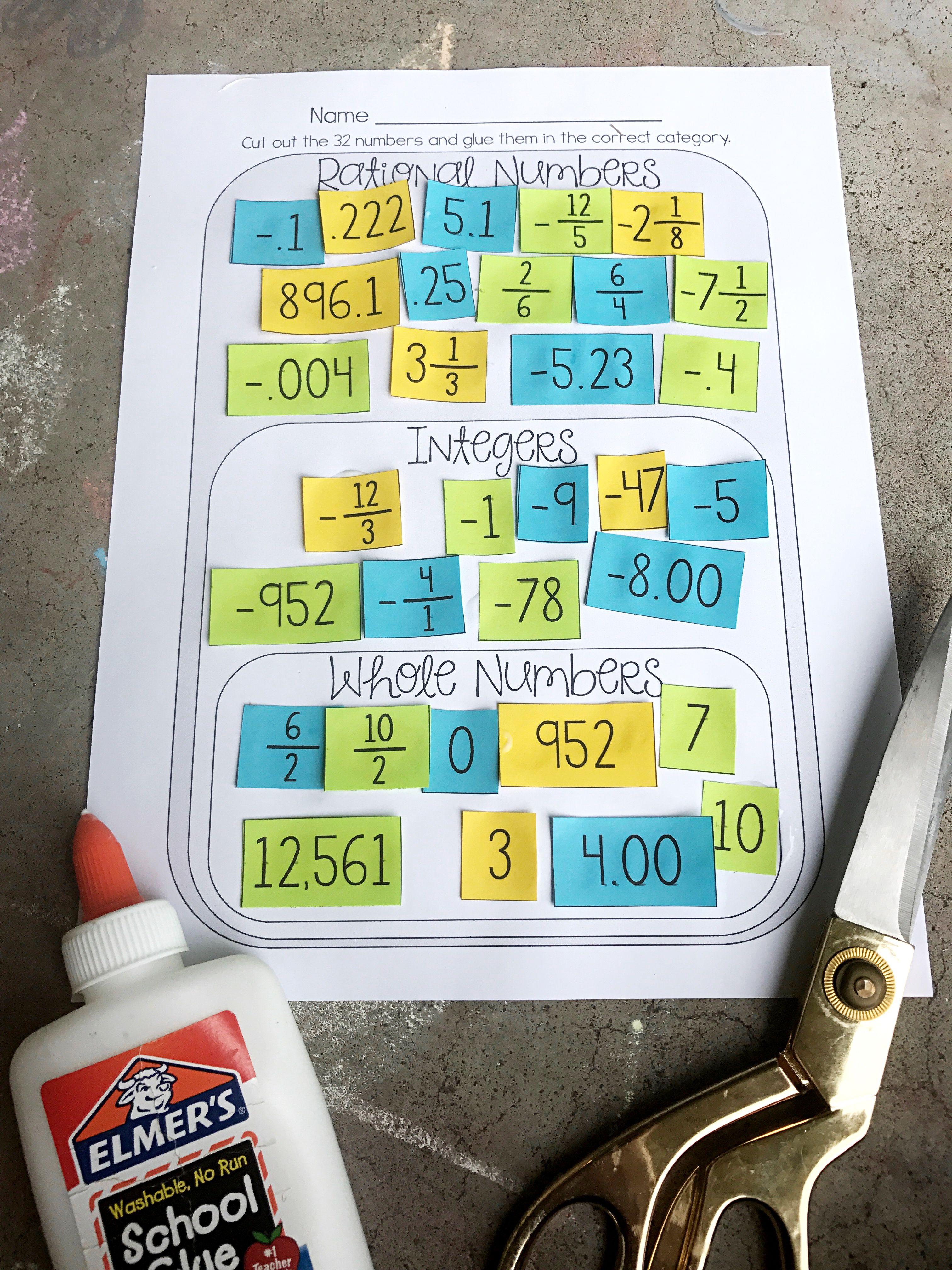 Classifying Rational Numbers Card Sort Rational Whole Integers Rational Numbers Sorting Cards 7th Grade Math Worksheets