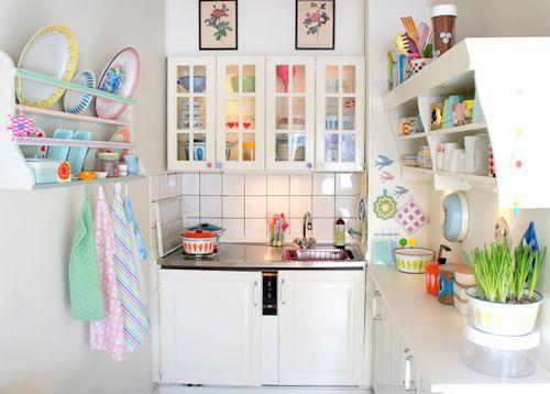 White Kitchen With Pastel Accessories