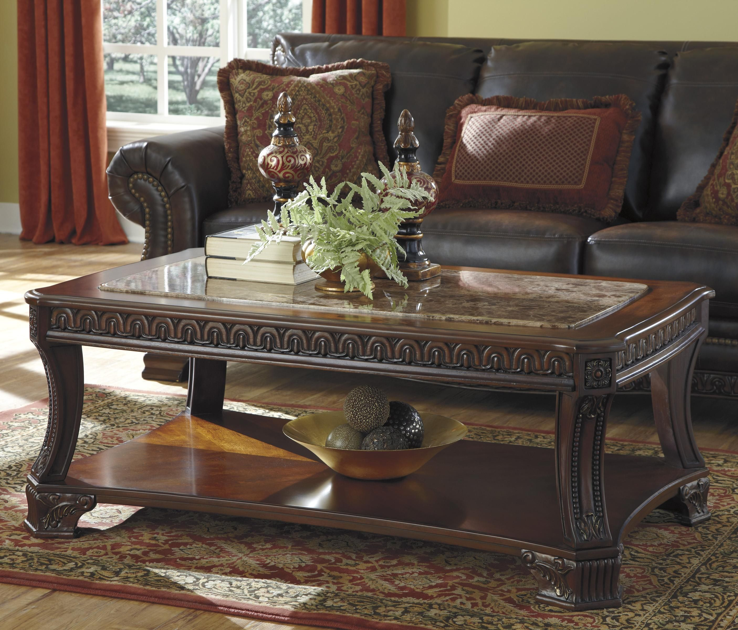 Ledelle Old World Rectangular Cocktail Table With Marble Look Top 1 Shelf By Signature Design By Traditional Coffee Table Coffee Table Coffee And End Tables