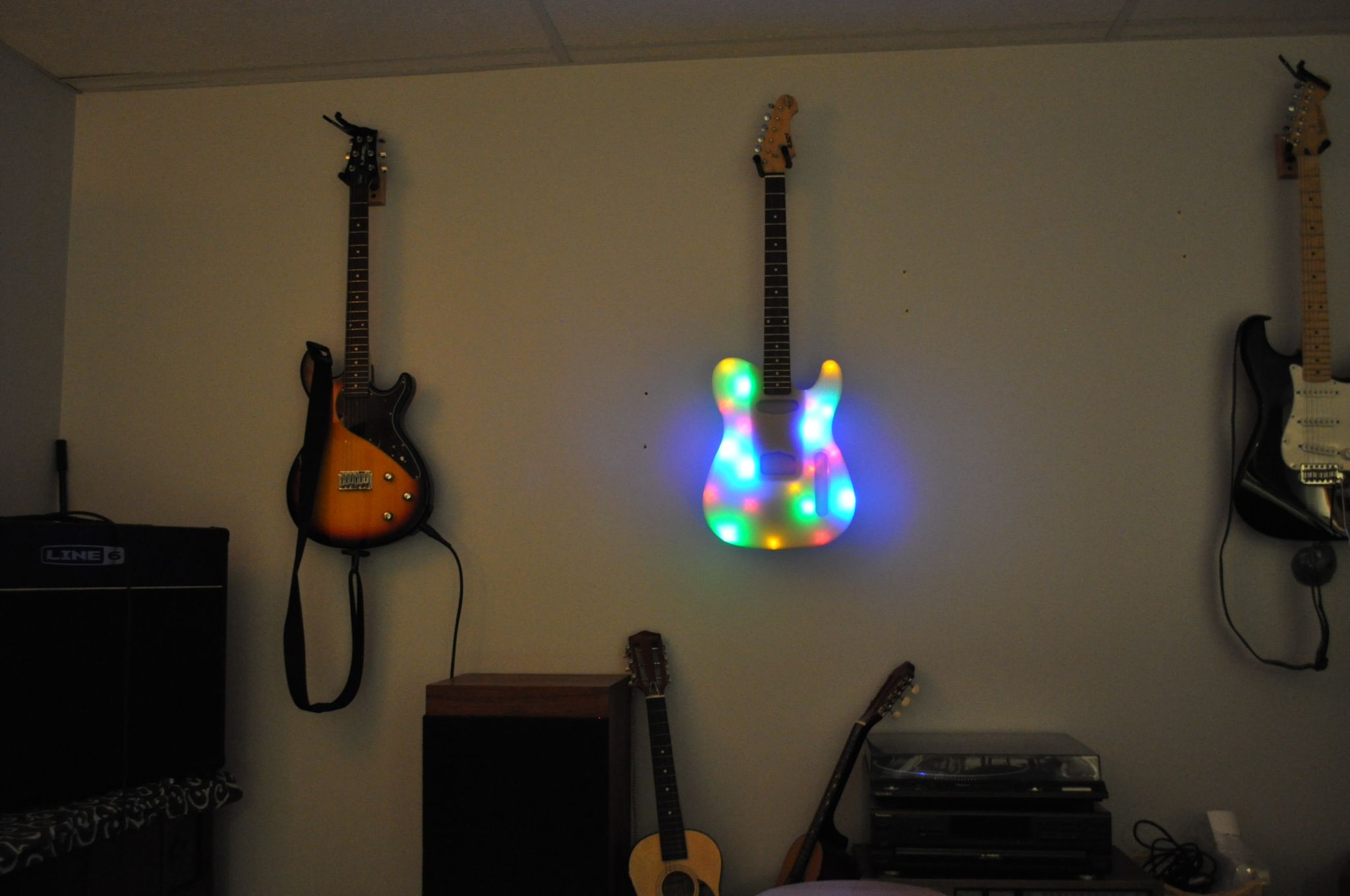 3d Printed Guitar With Lights Novelty Lamp Prints Lights