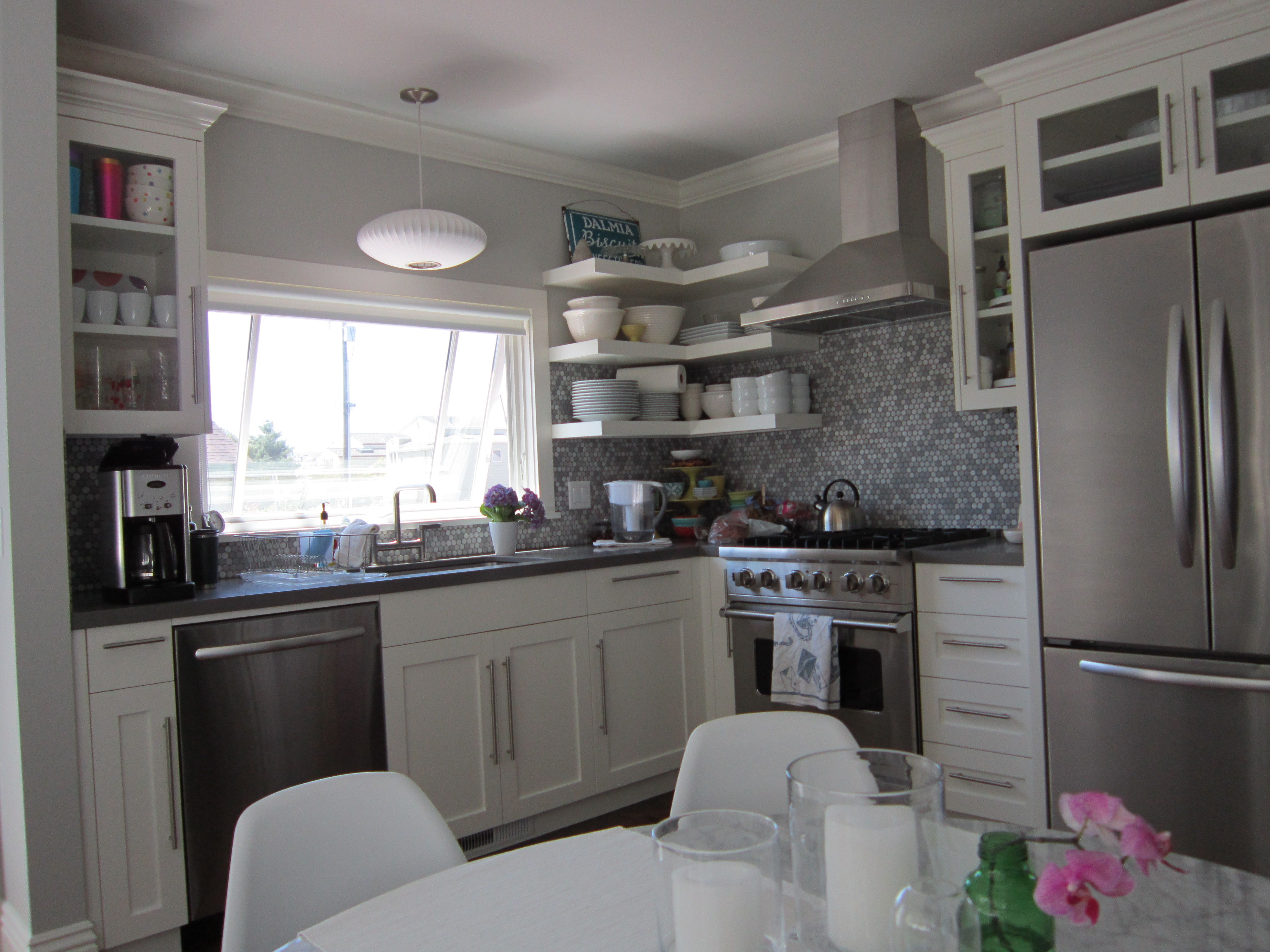 Gray And White Kitchen With Penny Tile Backsplash Calming #Houseandhome