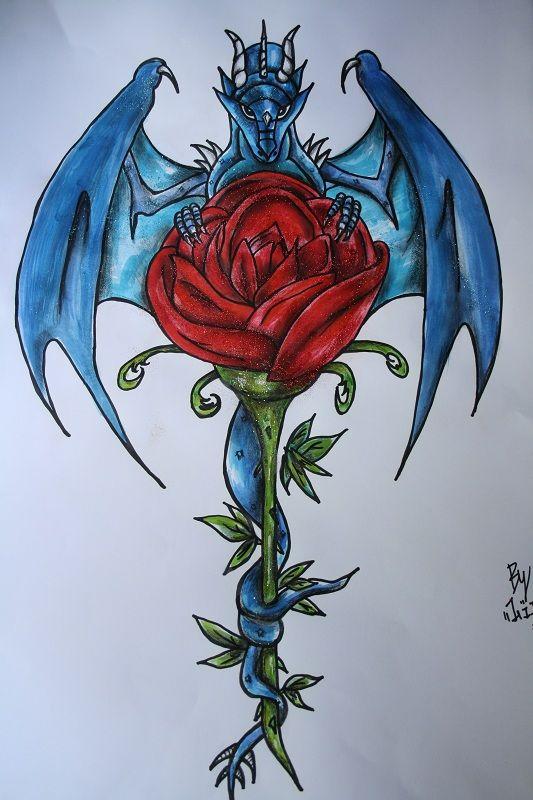blue dragon with rose dragonesque pinterest blue dragon tattoo and tatoos. Black Bedroom Furniture Sets. Home Design Ideas