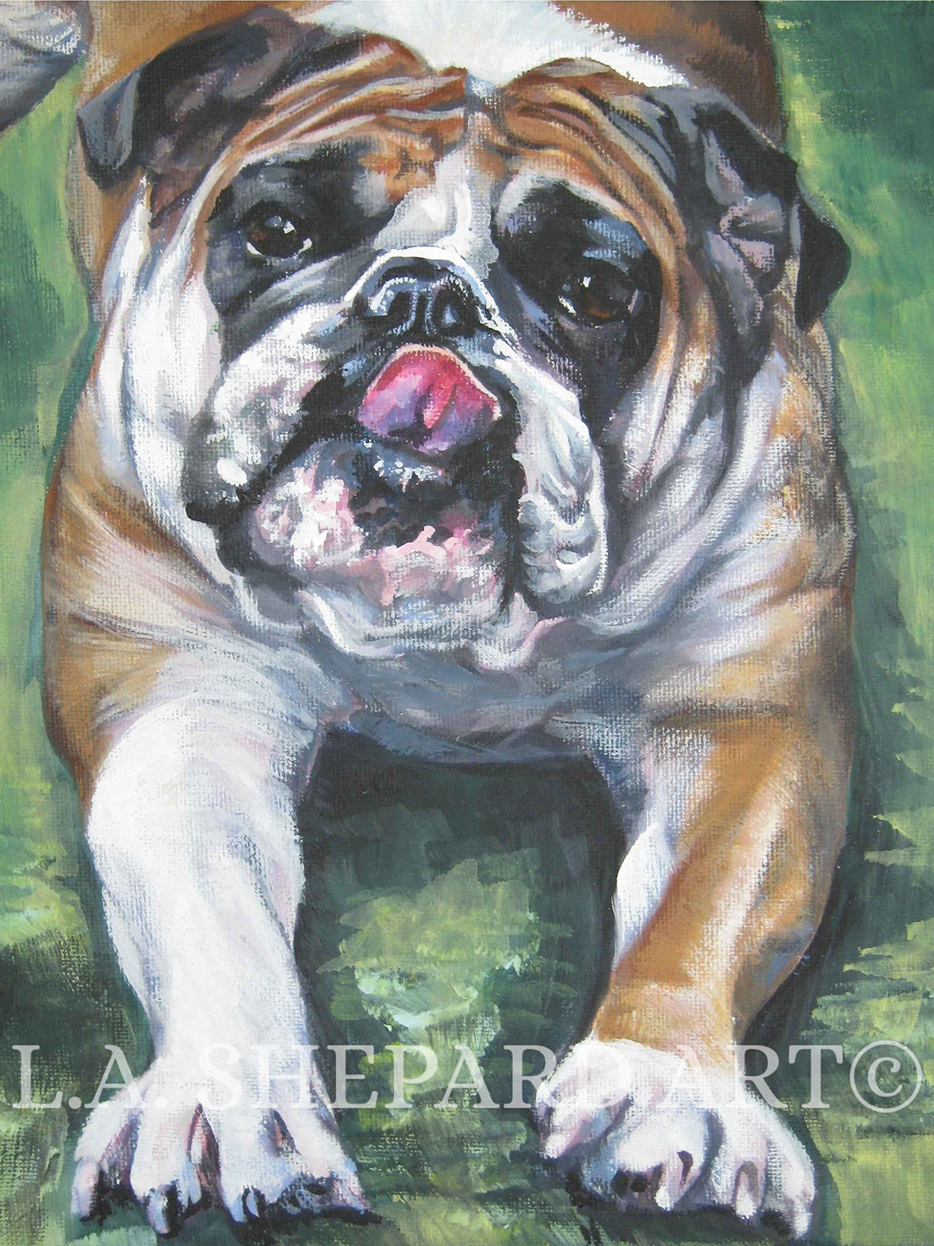 "An English Bulldog dog art portrait print of an LA Shepard painting 12x16"". Here's a wonderful tribute to your best friend and favorite breed- the Bulldog! from an original painting by L.A.Shepard, whose unique, beautiful work has been collected around the world. Your print will be individually signed under the image by the artist, and initialed on the image. Copyright text is for display purposes only and will not appear on your artwork. The image is 12x16 inches and is printed on 13x19..."