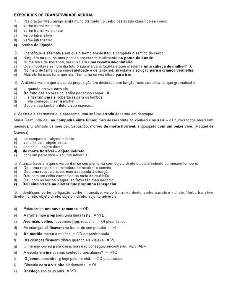 Exercicios De Transitividade Verbal Gabarito Free Download As