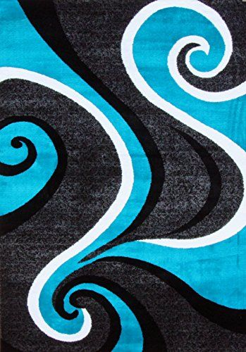 0327 Turquoise White Gray Black 5u00272x7u00272 Area Rug Abstract Carpet Persian