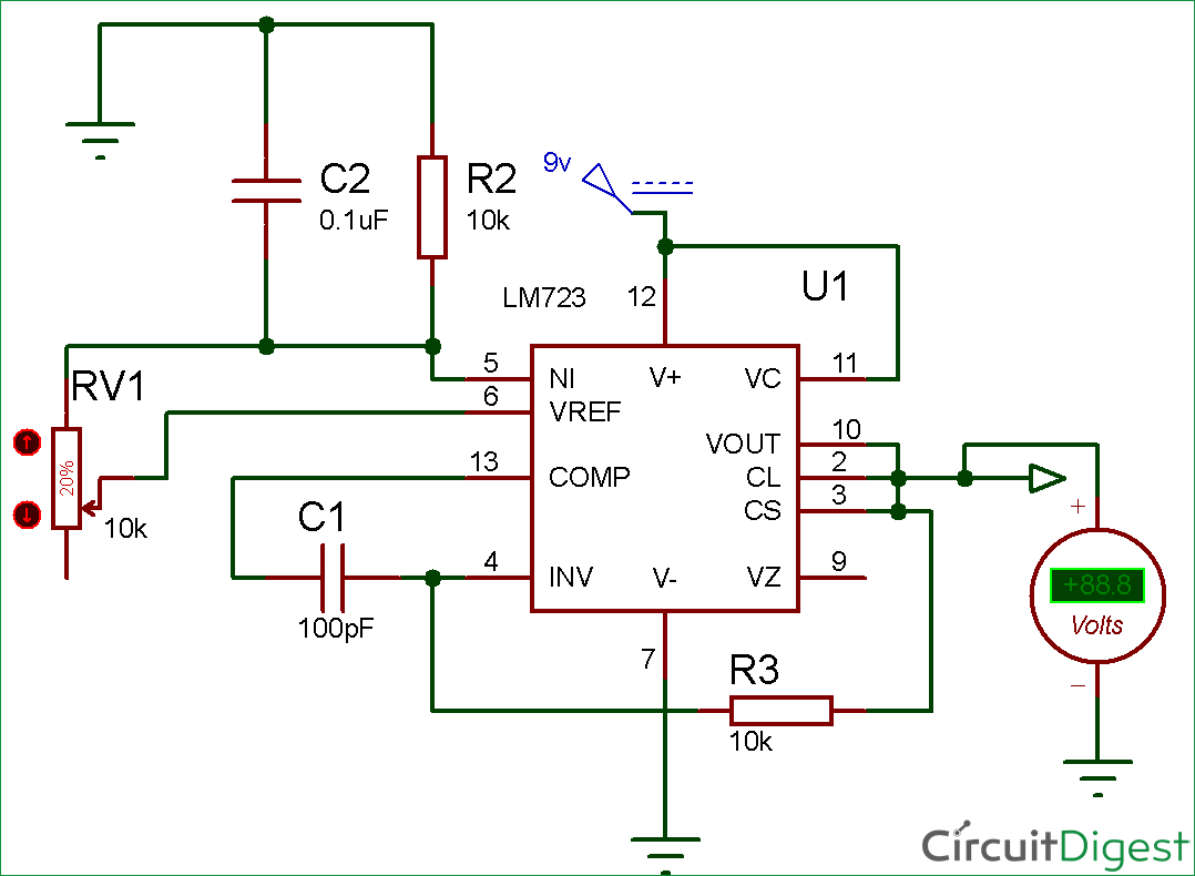 LM723 Voltage Regulator Circuit diagram   Electronic