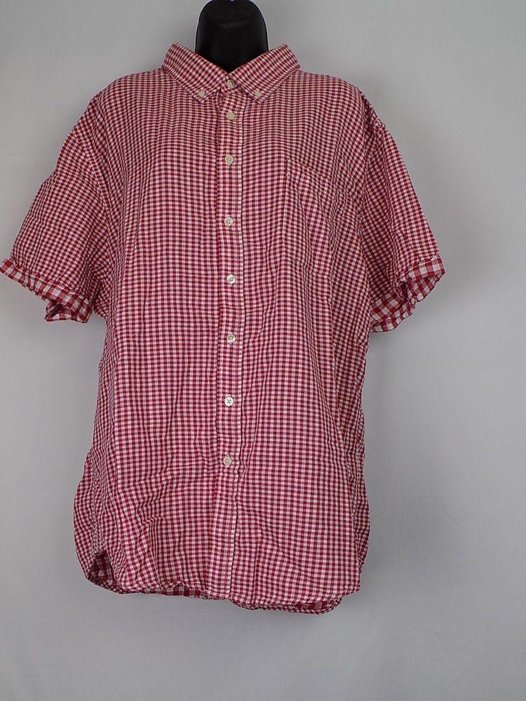 40d60657 Merona XXL Red/white check Women short sleeve button down shirt #Merona # ButtonDownShirt