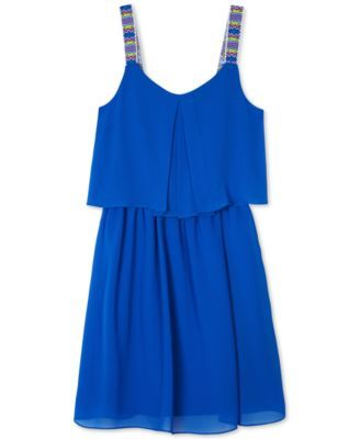 BCX Girls' Popover Dress With Novelty Straps