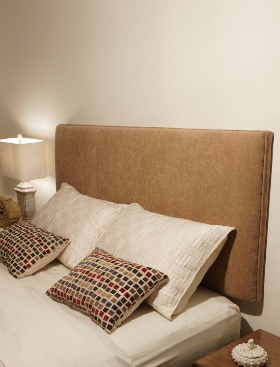 Queen Sized Wall Mounted Upholstered Headboard Tan