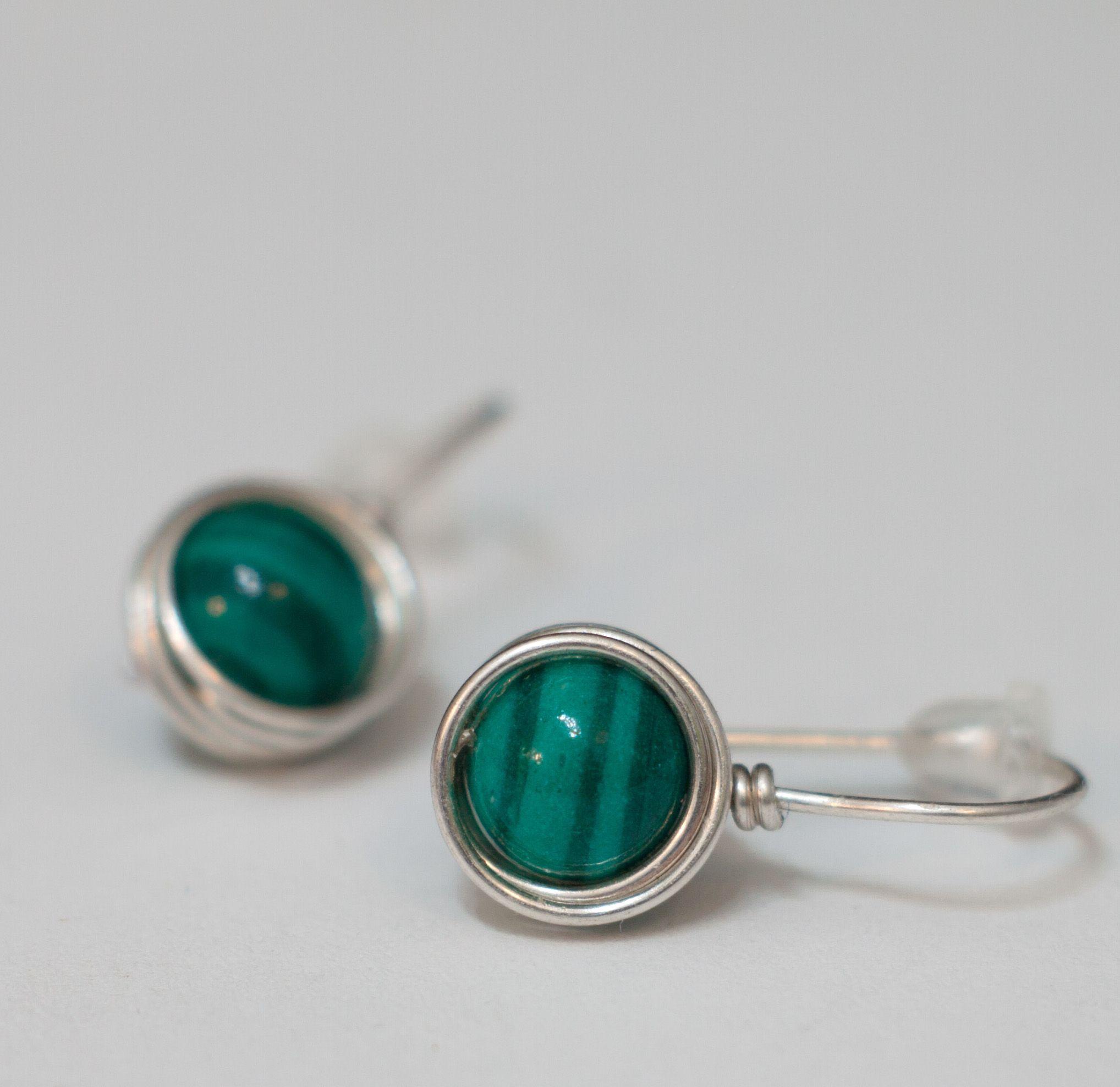 Earrings malachites green earrings wire wrapping minimalism