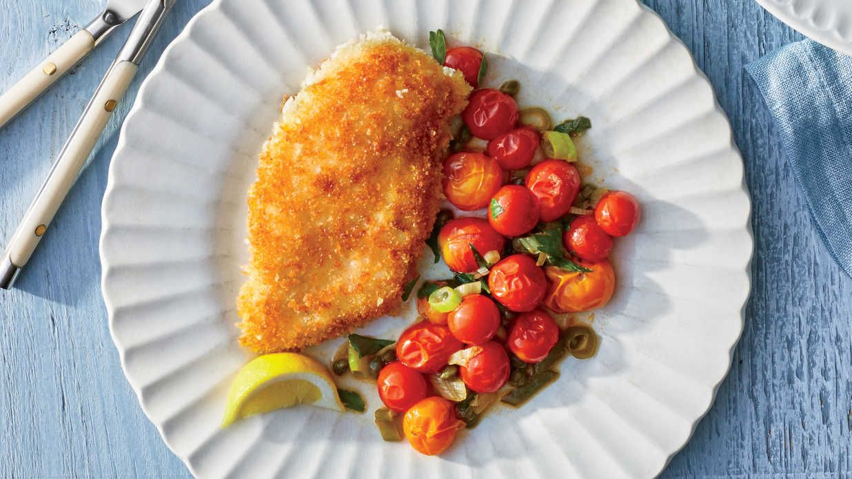 Crispy Chicken Cutlets With Blistered Tomatoes Recipe Recipe Tomato Recipes Chicken Cutlets Recipes