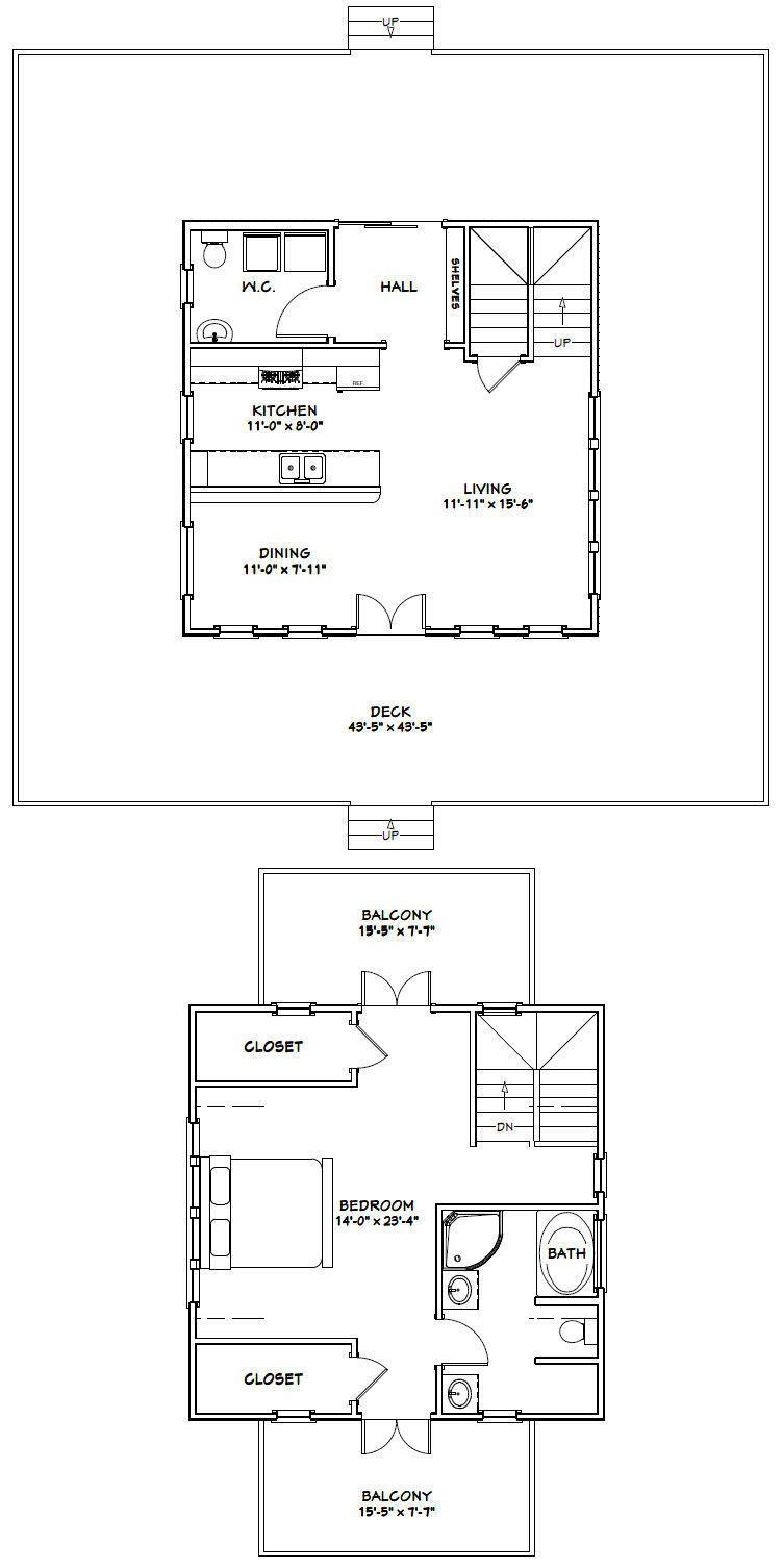 24x24 House 1 Bedroom 1 5 Bath 1 064 Sq Ft Pdf Floor Plan