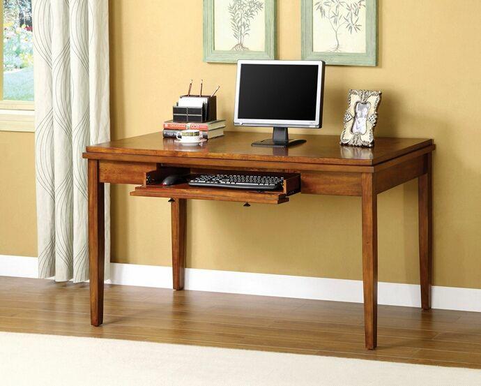 Salina Oak Wood Finish Console Table Computer Desk With Hidden