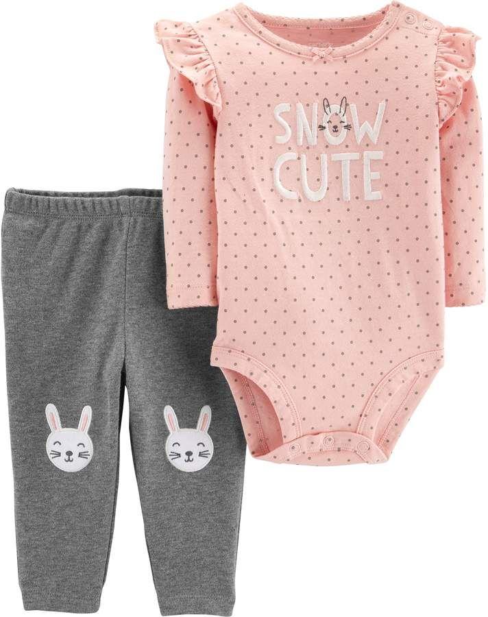 7425091e253a Carter s Baby Girl Snow Cute Polka-Dot Bodysuit   Embroidered Bunny ...