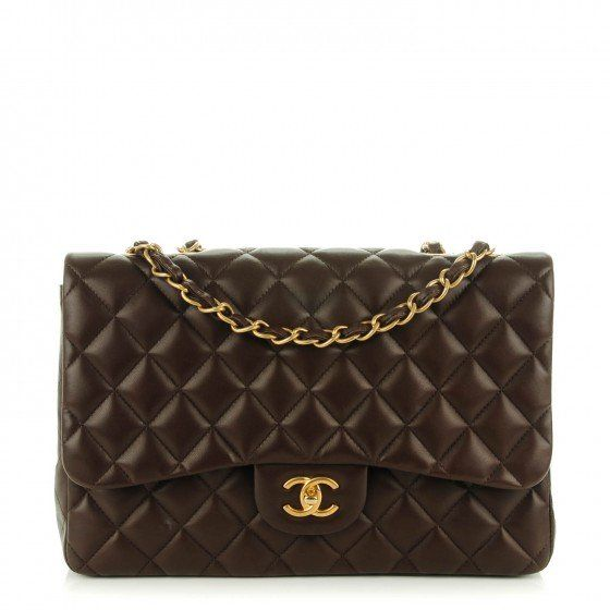 b77b5d4394c1 This is an authentic CHANEL Lambskin Quilted Jumbo Single Flap in Dark Brown.  This is