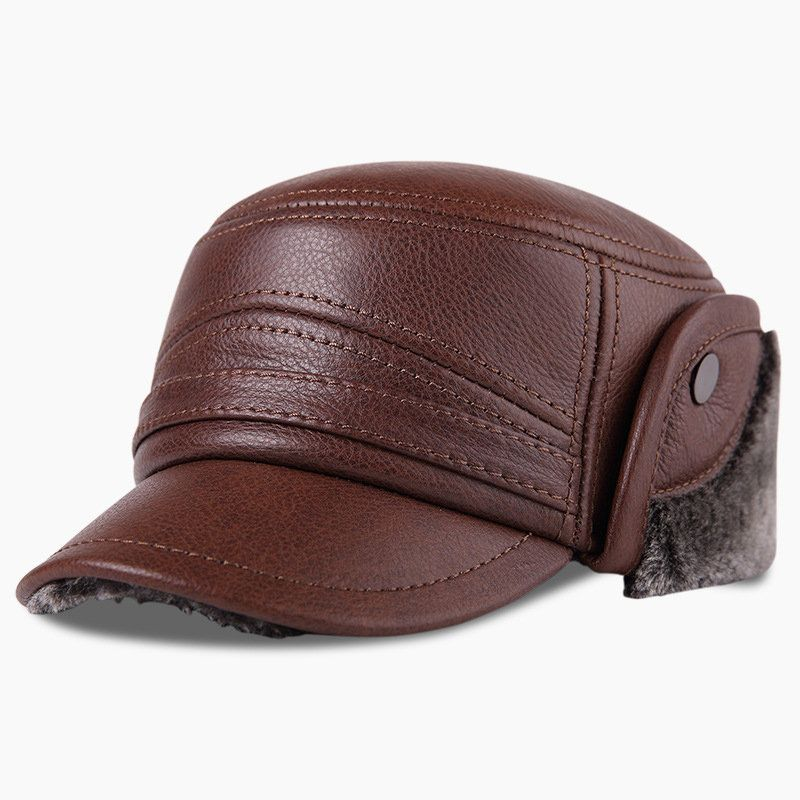 67a1e0d0 Mens Vintage Casual Comfortable Winter Thick Warm Leather Plush Flat Hat  Outdoor Protect Ear Cap