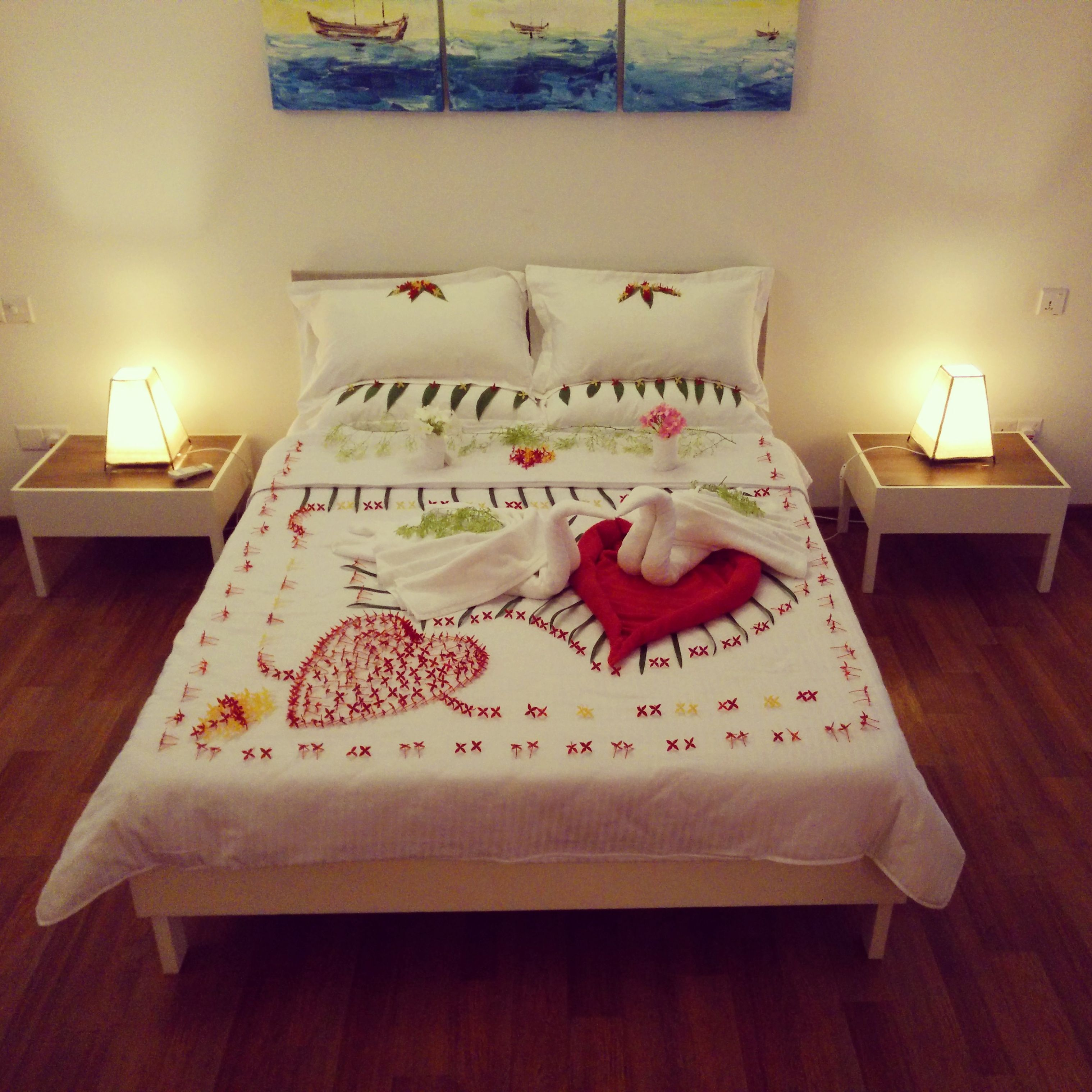 Bed Decorations flower bed decoration for honeymoon #maldives #laamu #romantic