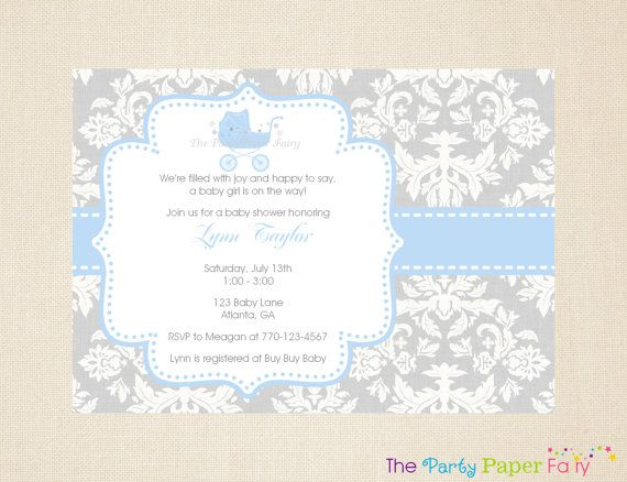 Grey and White Damask Blue Carriage Baby by ThePartyPaperFairy