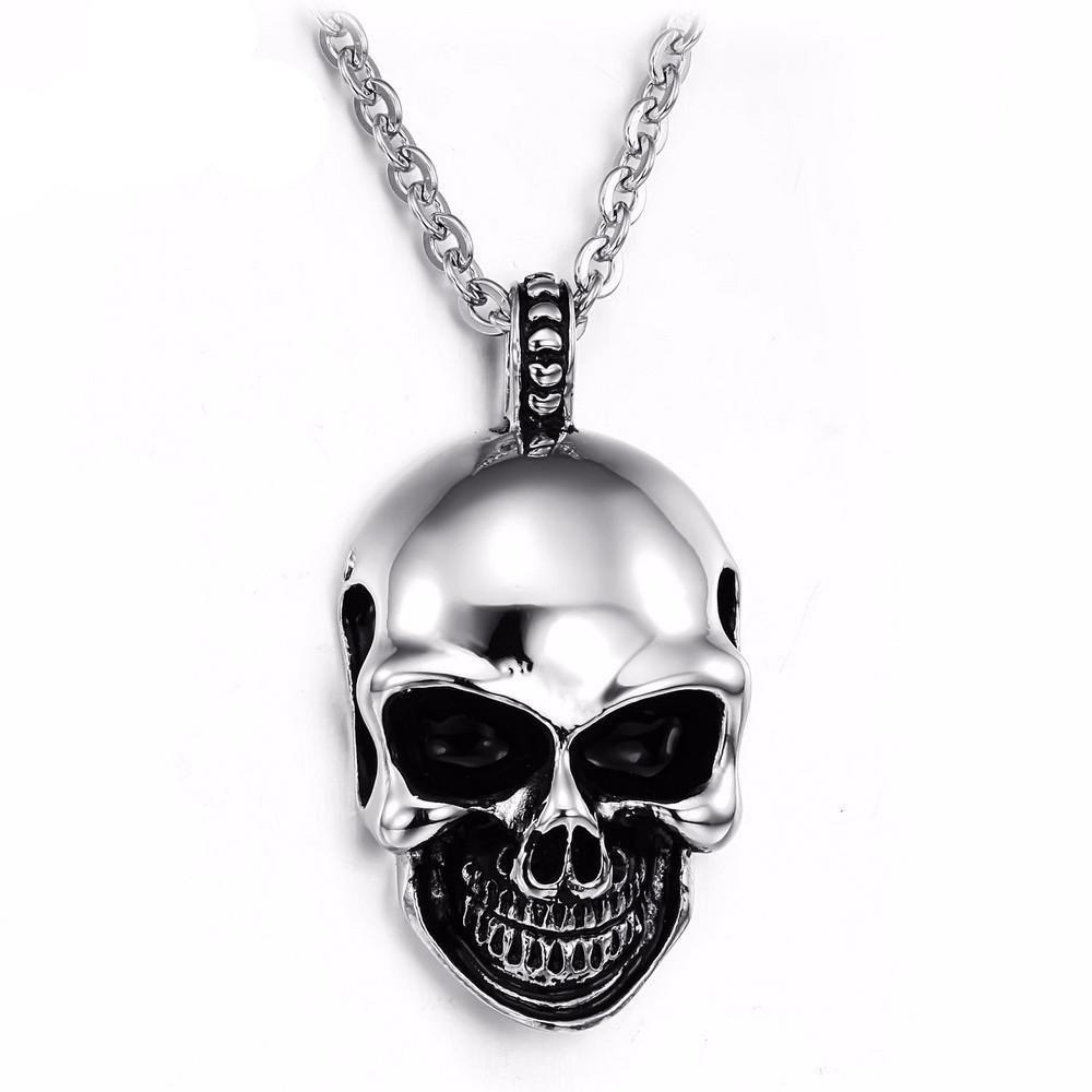 Stainless Steel Skull Pendant Necklace