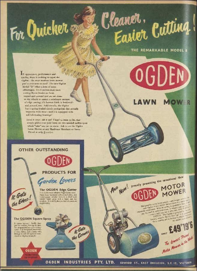 Ogden Model B Two Stroke Lawn Mower Frames Advert From