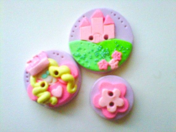 Pincess Castle polymer clay buttons ( 3 )