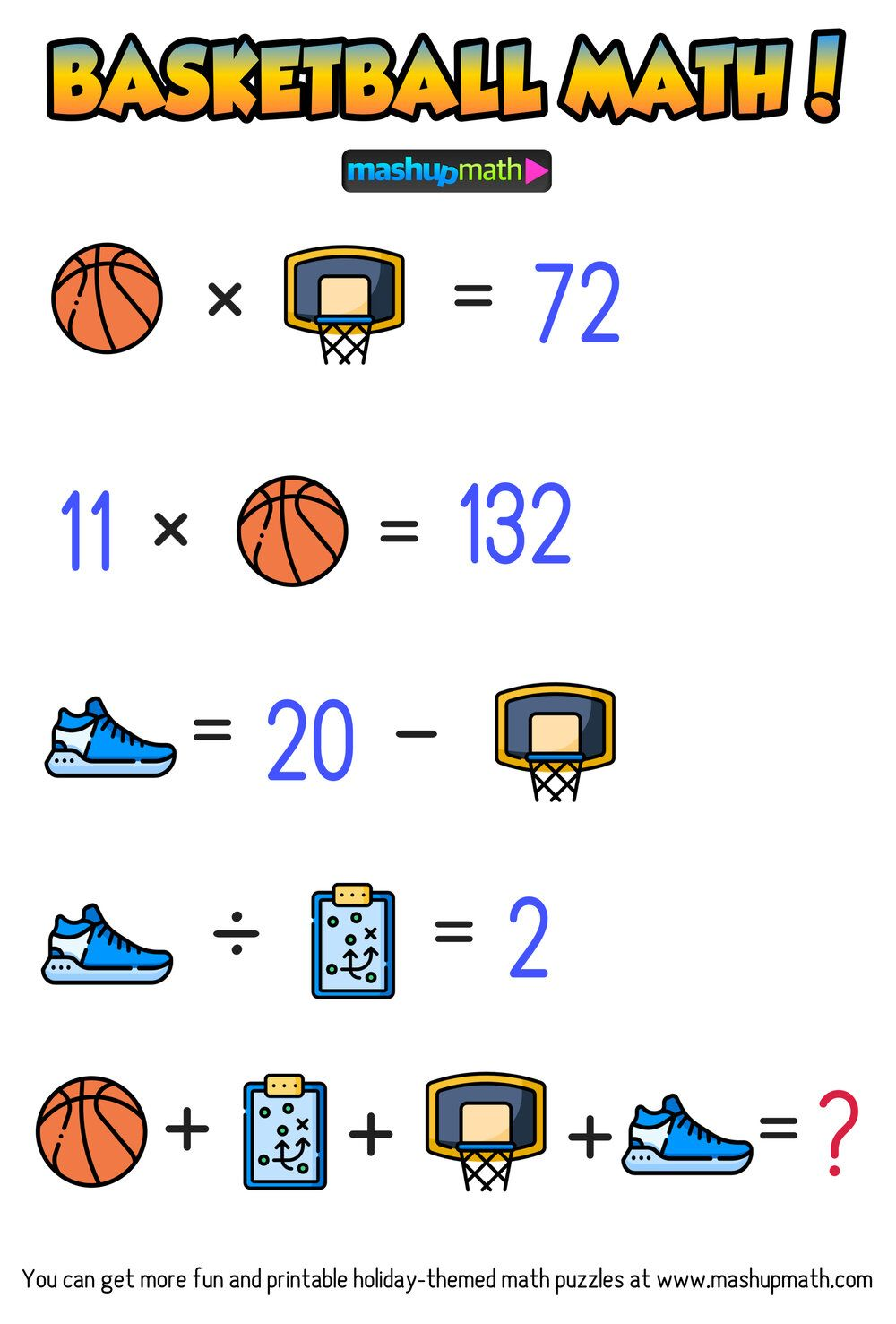 Are Your Kids Ready For These Basketball Math Puzzles Mashup Math Maths Puzzles Basketball Math March Madness Math