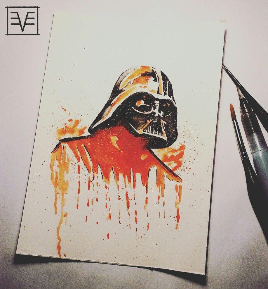 Darth Vader watercolor painting