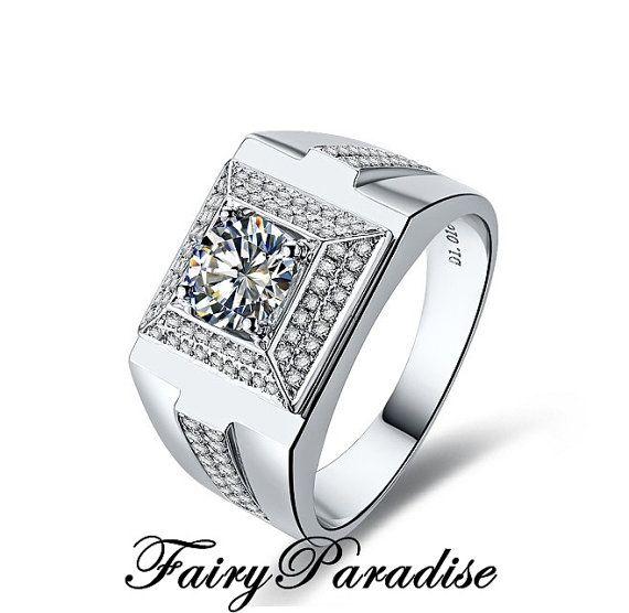 1 Ct Huge Men S Wedding Ring Promise Ring Wide Band Ring Man
