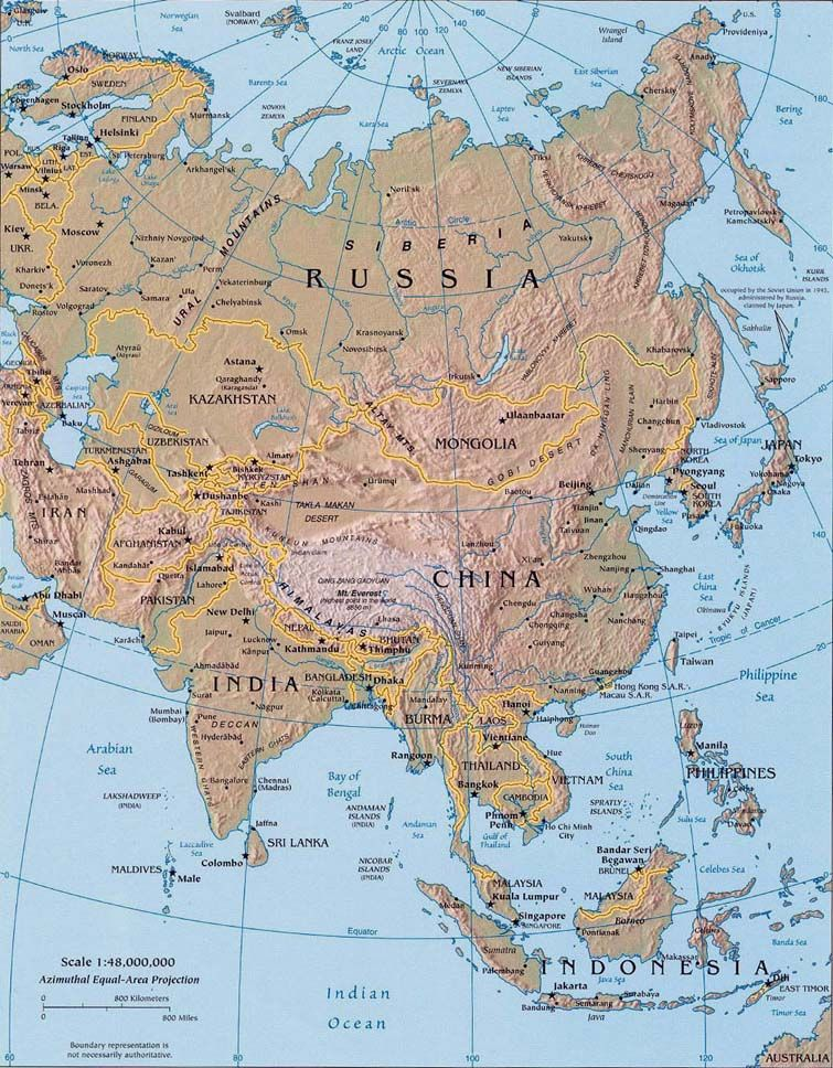 Map Of Asia Mountains And Rivers.Landforms Of Asia Mountain Ranges Of Asia Lakes Rivers And