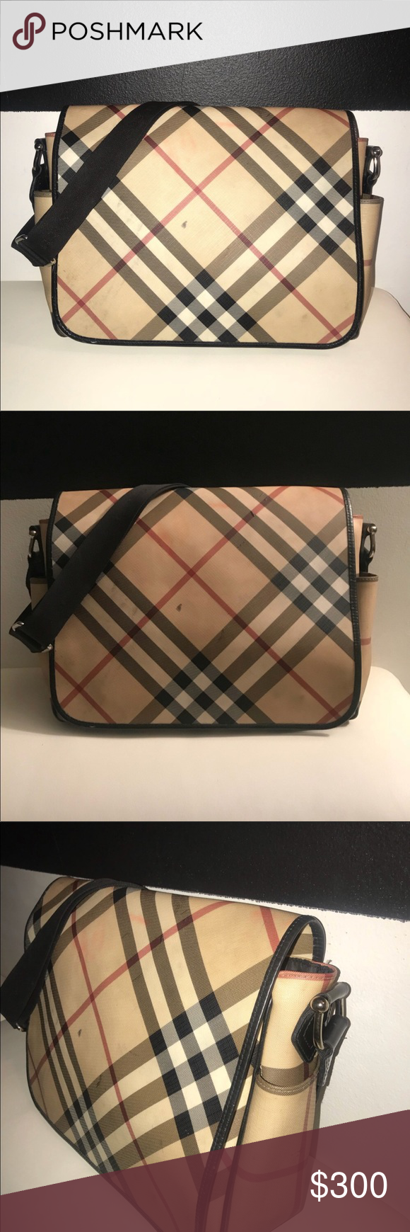 e53aac5635b4 Burberry baby bag Burberry Canvas Nova Check Messenger diaper bag. This bag  is good condition and very durable. Plenty space for all of babies daily ...