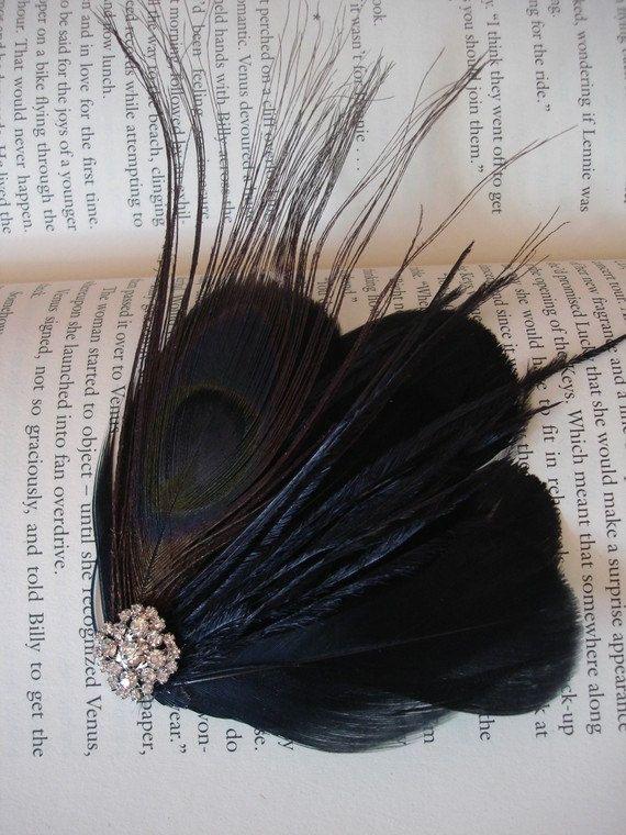 Fascinator, Black feather fascinator, peacock wedding, peacock feather clip, rhinestone fascinator, black fascinator - Style 39 #fascinatorstyles